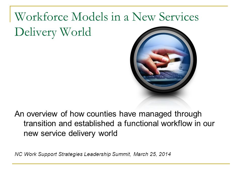 Workforce Models in a New Services Delivery World An overview of how counties have managed through transition and established a functional workflow in