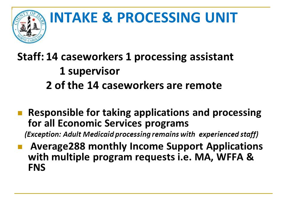 INTAKE & PROCESSING UNIT Staff:14 caseworkers 1 processing assistant 1 supervisor 2 of the 14 caseworkers are remote Responsible for taking applicatio