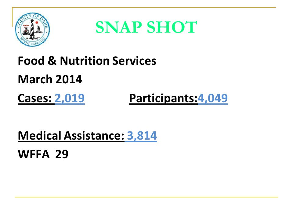 SNAP SHOT Food & Nutrition Services March 2014 Cases: 2,019 Participants:4,049 Medical Assistance: 3,814 WFFA 29