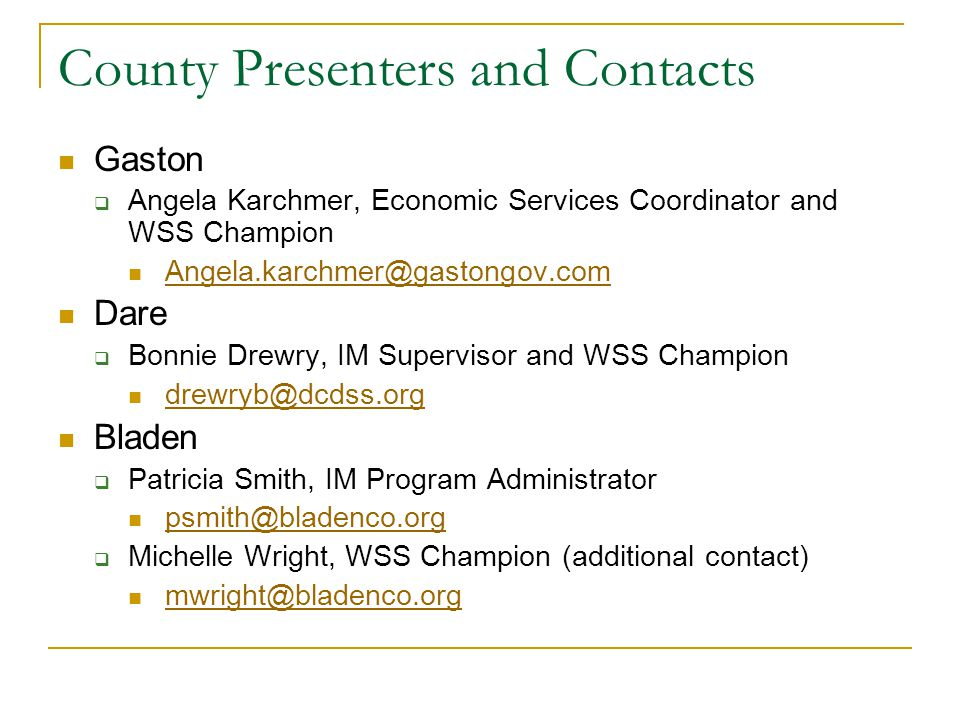 County Presenters and Contacts Gaston  Angela Karchmer, Economic Services Coordinator and WSS Champion Angela.karchmer@gastongov.com Dare  Bonnie Dr