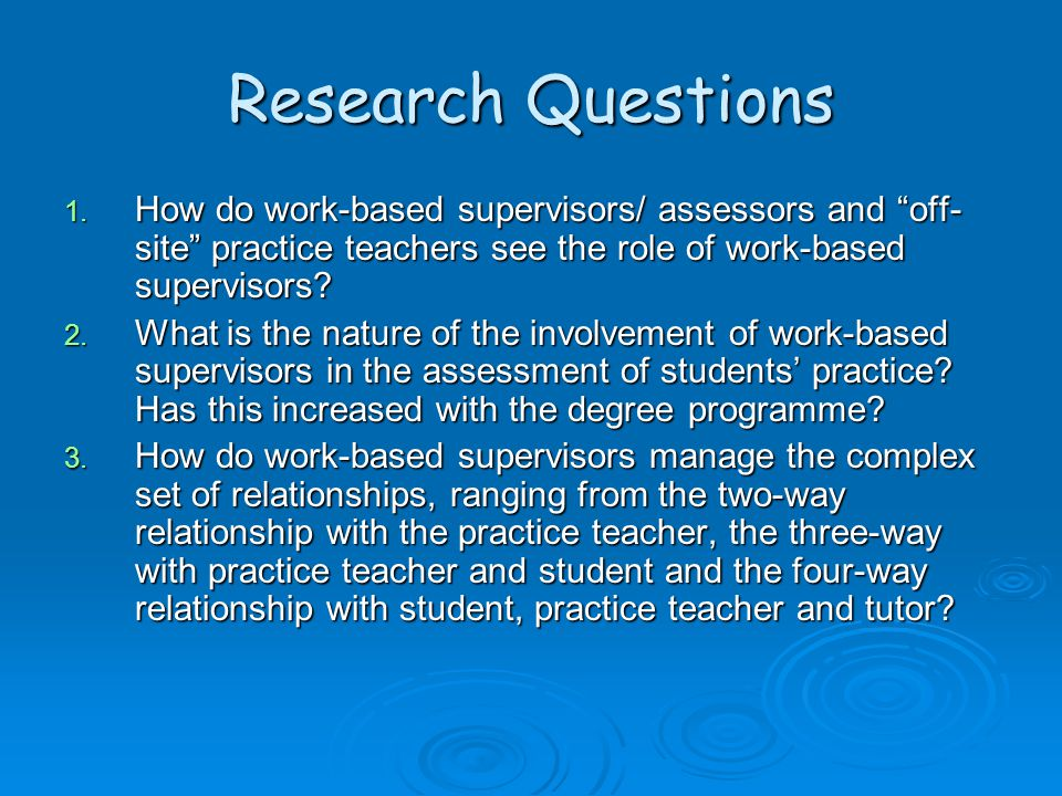 "Research Questions 1. How do work-based supervisors/ assessors and ""off- site"" practice teachers see the role of work-based supervisors? 2. What is th"