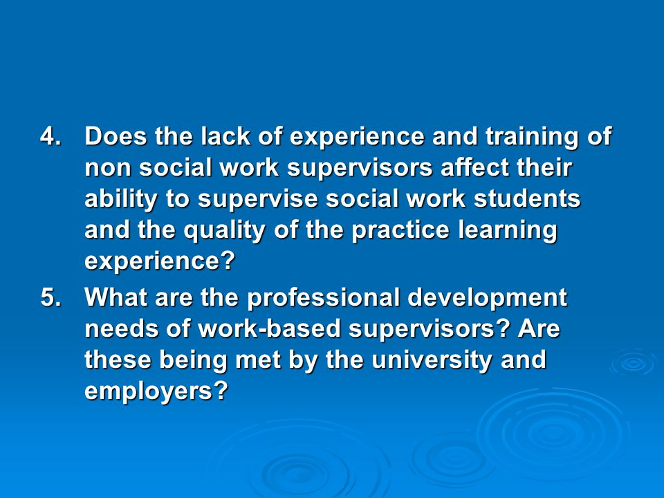 Findings  New model of practice learning where these experienced staff undertake all the roles and responsibilities of a practice assessor with mentoring from a specialist practice teacher.
