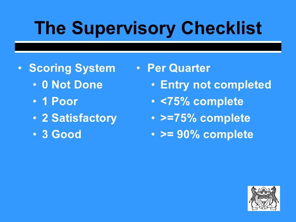 The Supervisory Checklist Scoring System 0 Not Done 1 Poor 2 Satisfactory 3 Good Per Quarter Entry not completed <75% complete >=75% complete >= 90% complete