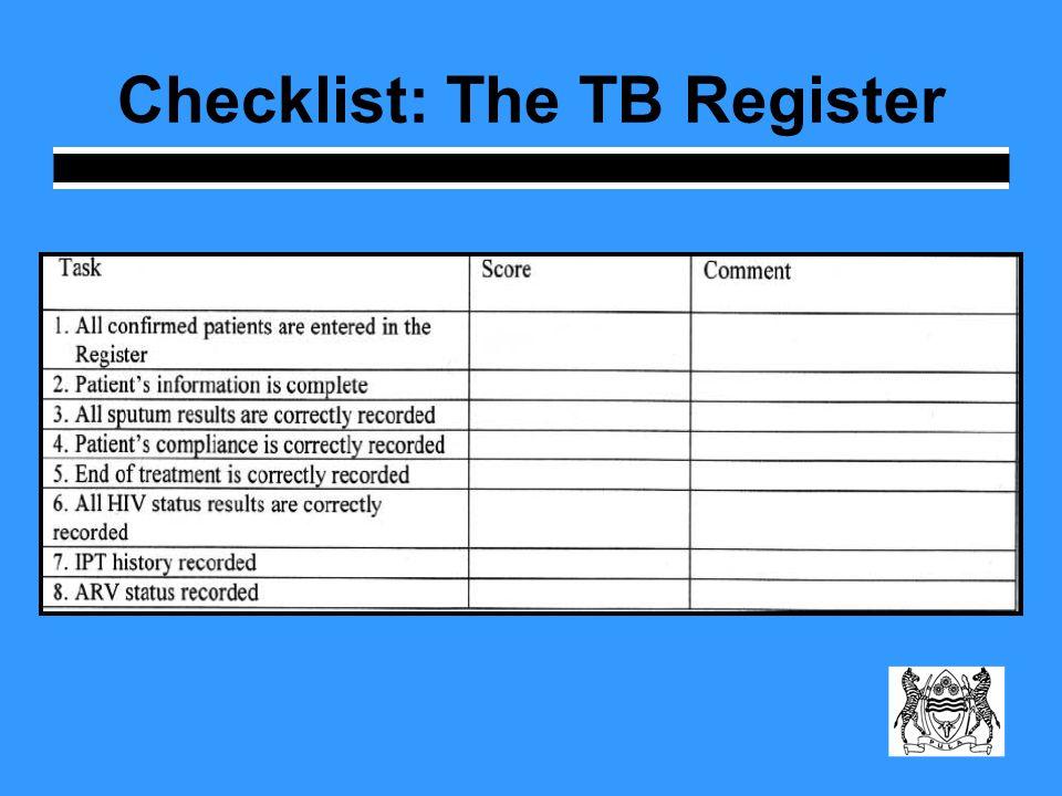 Checklist: The TB Register