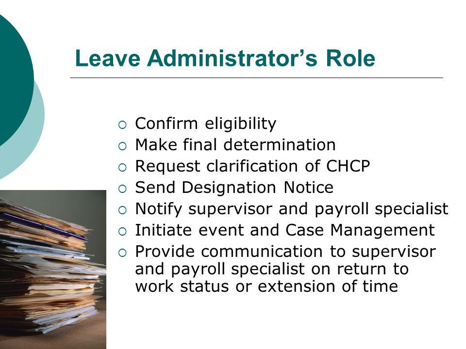 Leave Administrator's Role  Confirm eligibility  Make final determination  Request clarification of CHCP  Send Designation Notice  Notify supervi