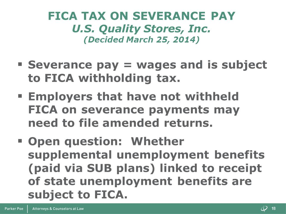 FICA TAX ON SEVERANCE PAY U.S. Quality Stores, Inc.