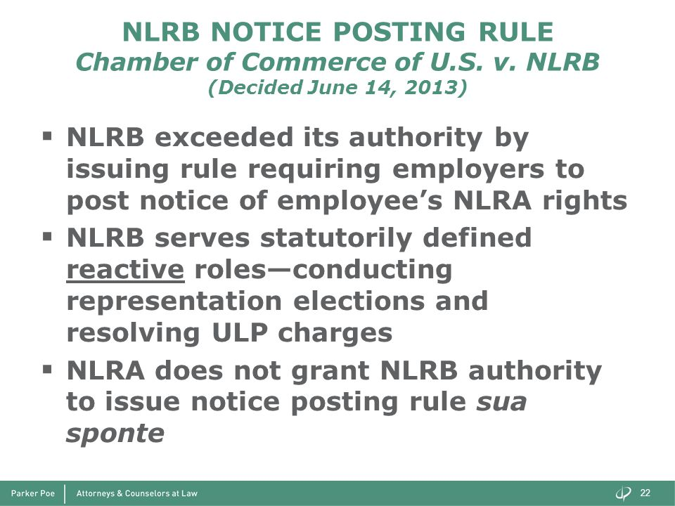 NLRB NOTICE POSTING RULE Chamber of Commerce of U.S.