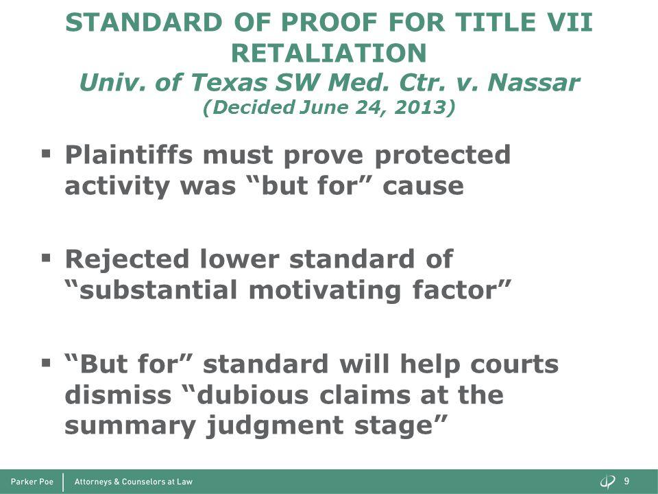 STANDARD OF PROOF FOR TITLE VII RETALIATION Univ. of Texas SW Med. Ctr. v. Nassar (Decided June 24, 2013)  Plaintiffs must prove protected activity w