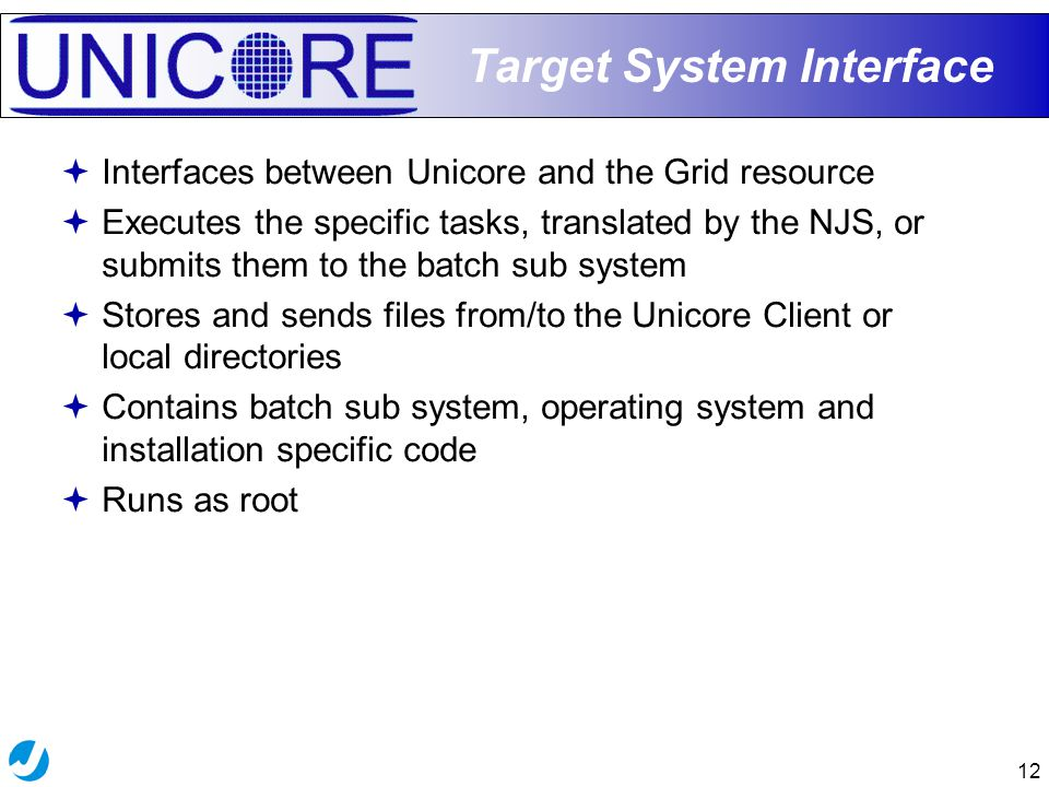 12 Target System Interface  Interfaces between Unicore and the Grid resource  Executes the specific tasks, translated by the NJS, or submits them to the batch sub system  Stores and sends files from/to the Unicore Client or local directories  Contains batch sub system, operating system and installation specific code  Runs as root