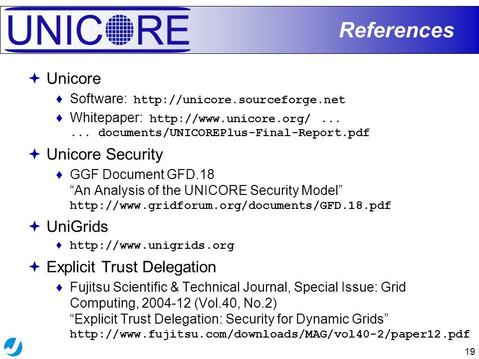 19 References  Unicore ♦Software: http://unicore.sourceforge.net ♦Whitepaper: http://www.unicore.org/...... documents/UNICOREPlus-Final-Report.pdf 