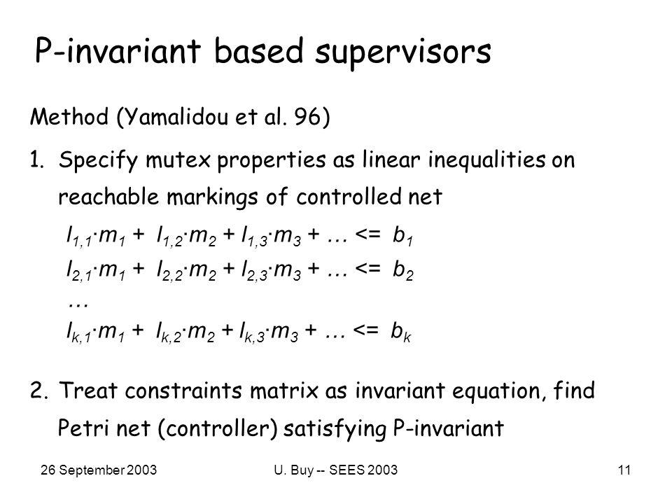 26 September 2003U. Buy -- SEES 200311 P-invariant based supervisors Method (Yamalidou et al.