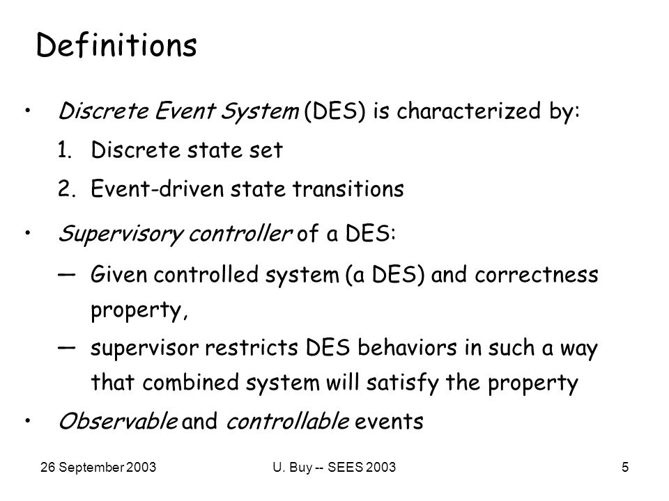 26 September 2003U.Buy -- SEES 20036 Why Supervisory Control.