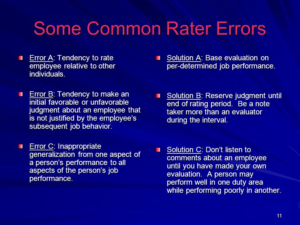 11 Some Common Rater Errors Error A: Tendency to rate employee relative to other individuals.