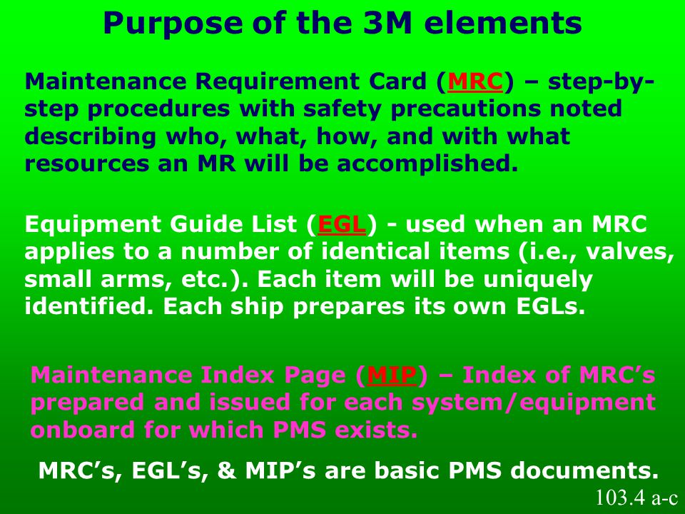 Maintenance Requirement Card (MRC) – step-by- step procedures with safety precautions noted describing who, what, how, and with what resources an MR w
