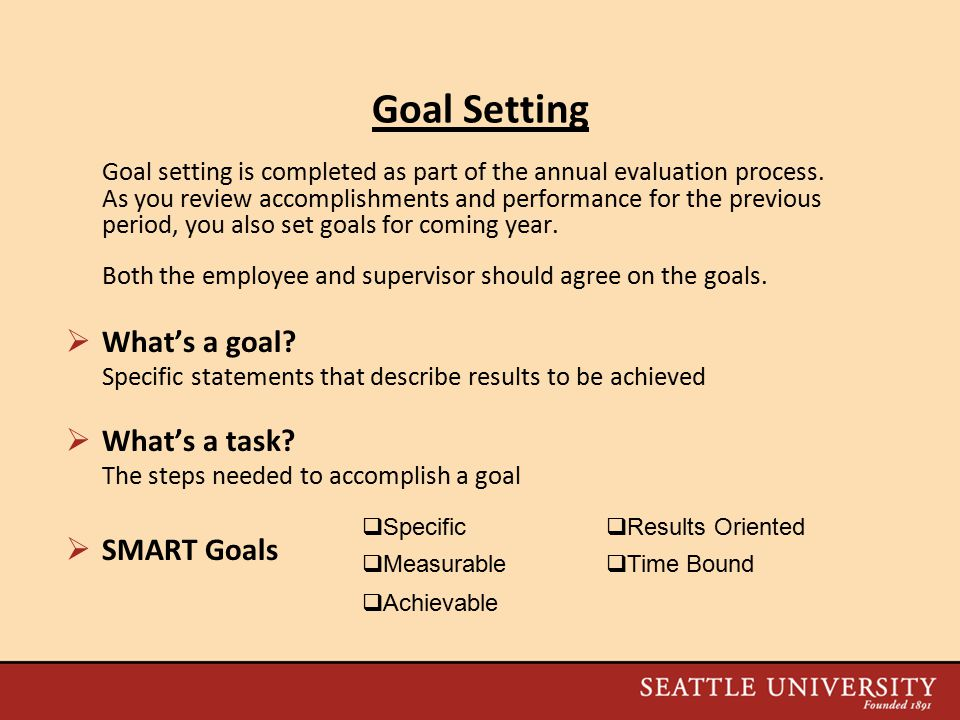 Goal Setting Goal setting is completed as part of the annual evaluation process.