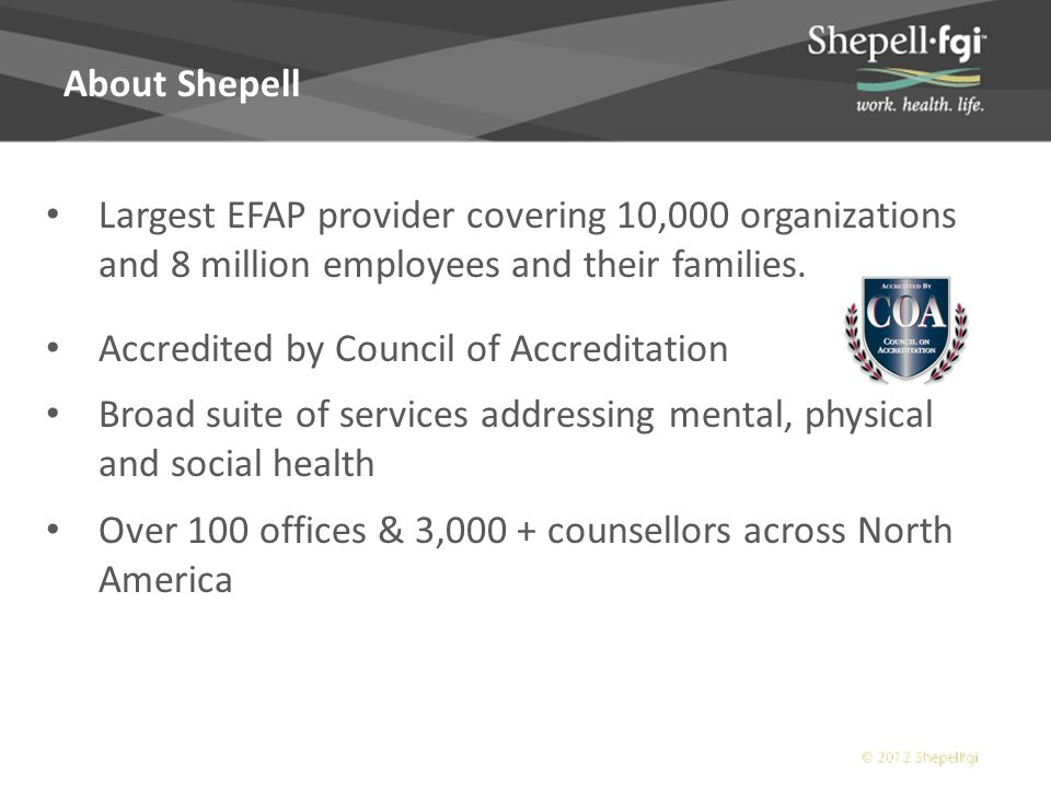 What is covered by my Shepell EFAP benefit?