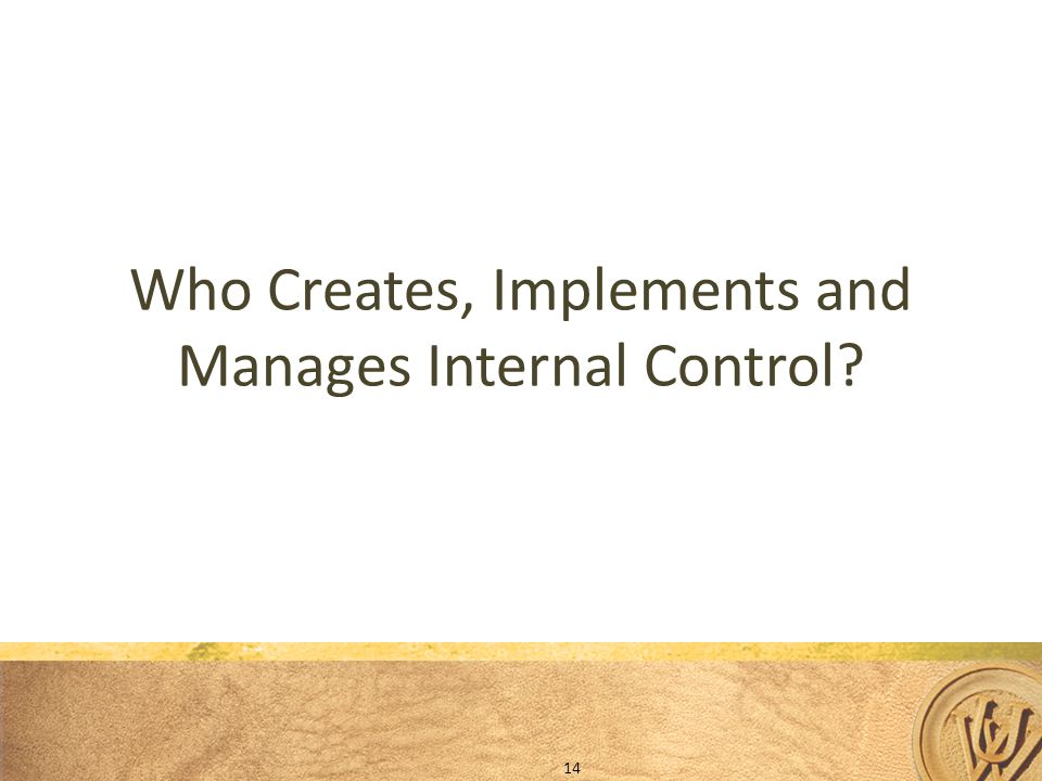 Who Creates, Implements and Manages Internal Control? 14