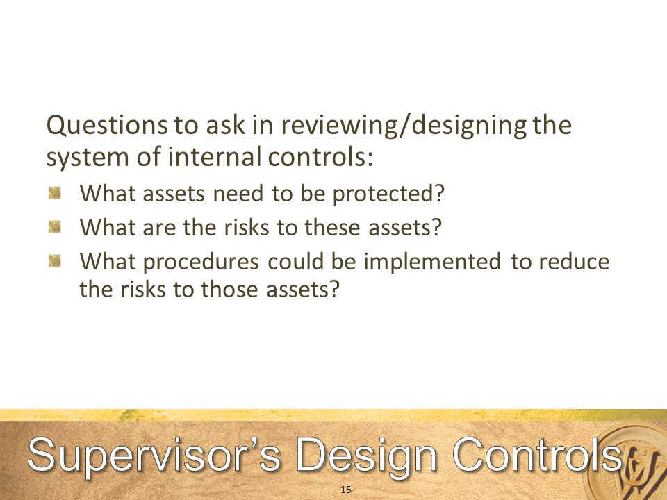 Questions to ask in reviewing/designing the system of internal controls: What assets need to be protected.