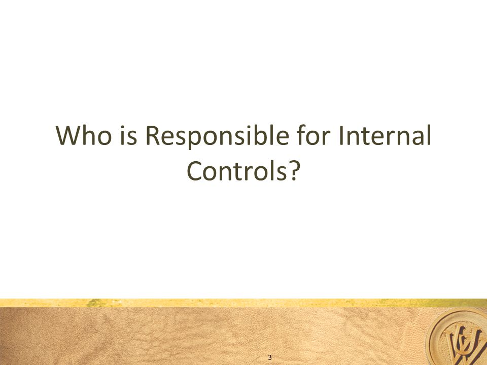 Who is Responsible for Internal Controls? 3