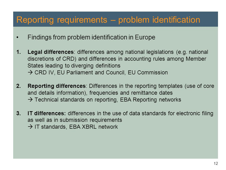 12 Reporting requirements – problem identification Findings from problem identification in Europe 1.Legal differences: differences among national legi