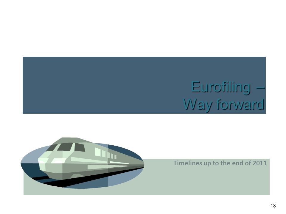 18 Eurofiling – Way forward Timelines up to the end of 2011