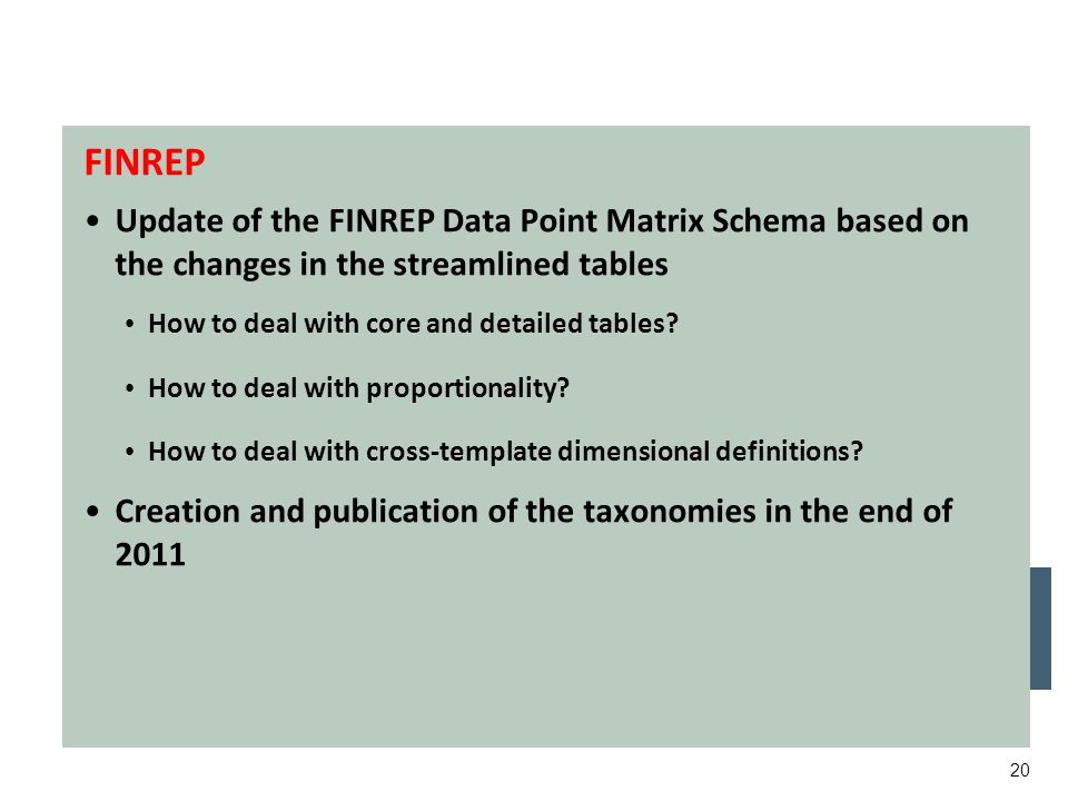 20 Working targets for this year FINREP Update of the FINREP Data Point Matrix Schema based on the changes in the streamlined tables How to deal with