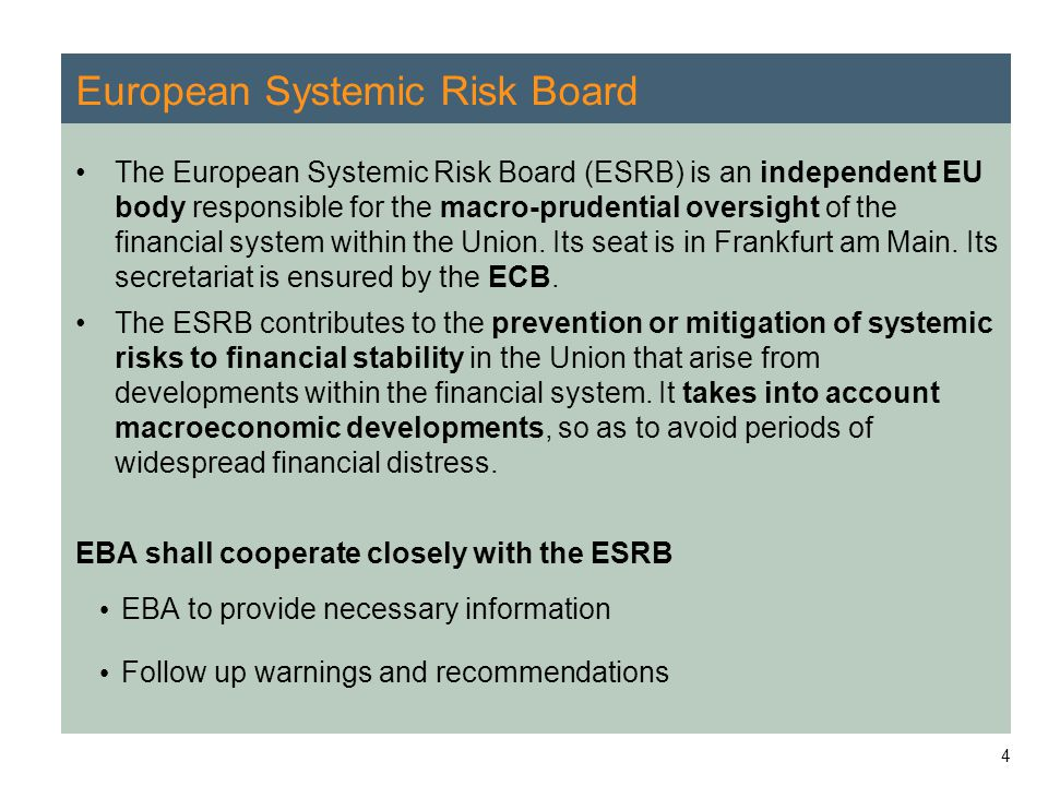 4 European Systemic Risk Board The European Systemic Risk Board (ESRB) is an independent EU body responsible for the macro-prudential oversight of the