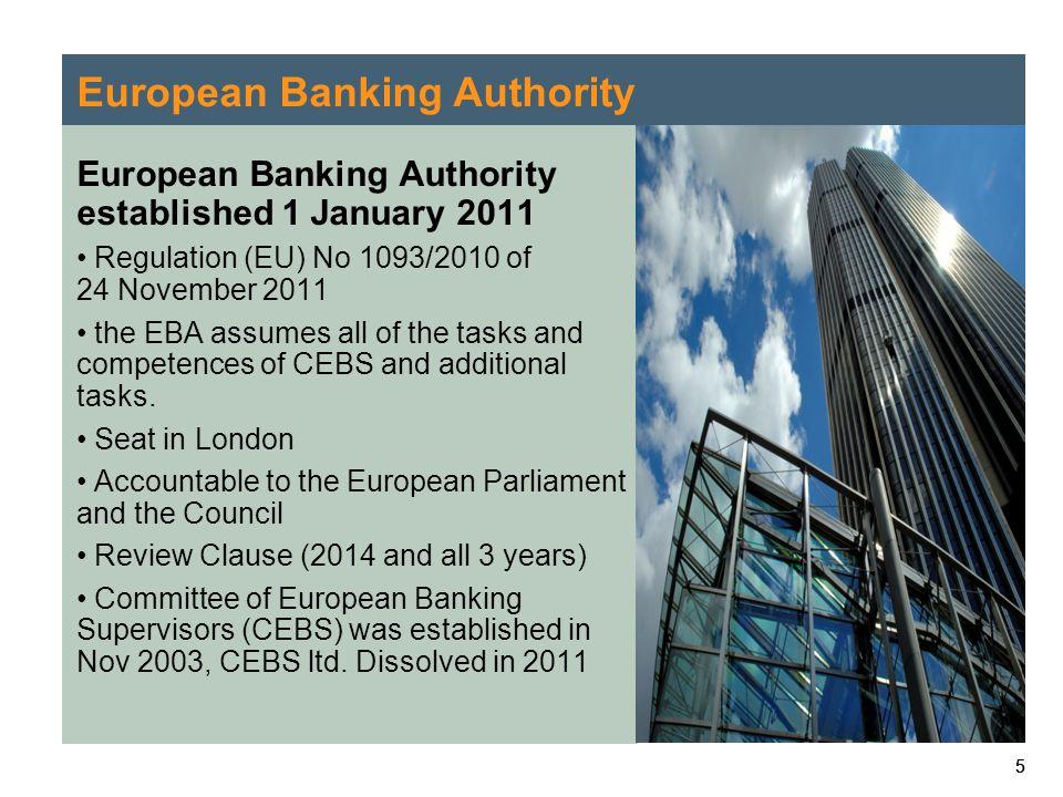 555 European Banking Authority European Banking Authority established 1 January 2011 Regulation (EU) No 1093/2010 of 24 November 2011 the EBA assumes