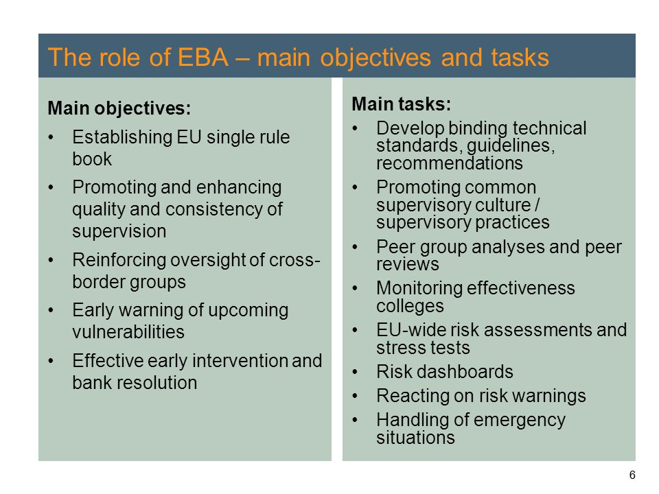 66 The role of EBA – main objectives and tasks Main objectives: Establishing EU single rule book Promoting and enhancing quality and consistency of su
