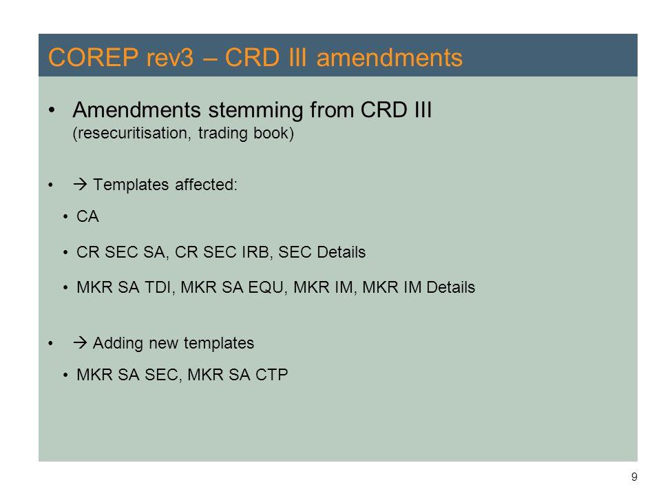 9 COREP rev3 – CRD III amendments Amendments stemming from CRD III (resecuritisation, trading book)  Templates affected: CA CR SEC SA, CR SEC IRB, SE