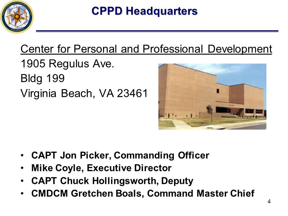 4 CPPD Headquarters Center for Personal and Professional Development 1905 Regulus Ave.