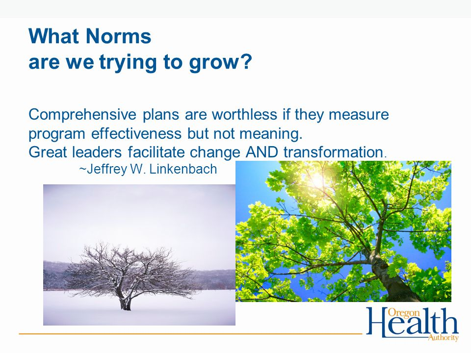 What Norms are we trying to grow.