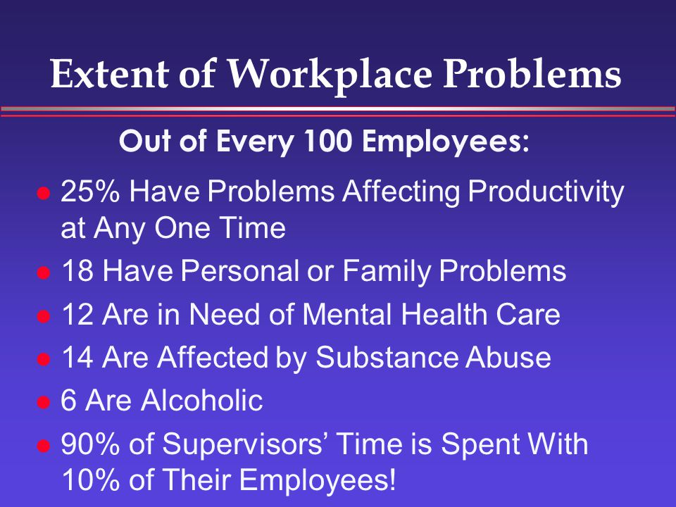 Extent of Workplace Problems 25% Have Problems Affecting Productivity at Any One Time 18 Have Personal or Family Problems 12 Are in Need of Mental Health Care 14 Are Affected by Substance Abuse 6 Are Alcoholic 90% of Supervisors' Time is Spent With 10% of Their Employees.