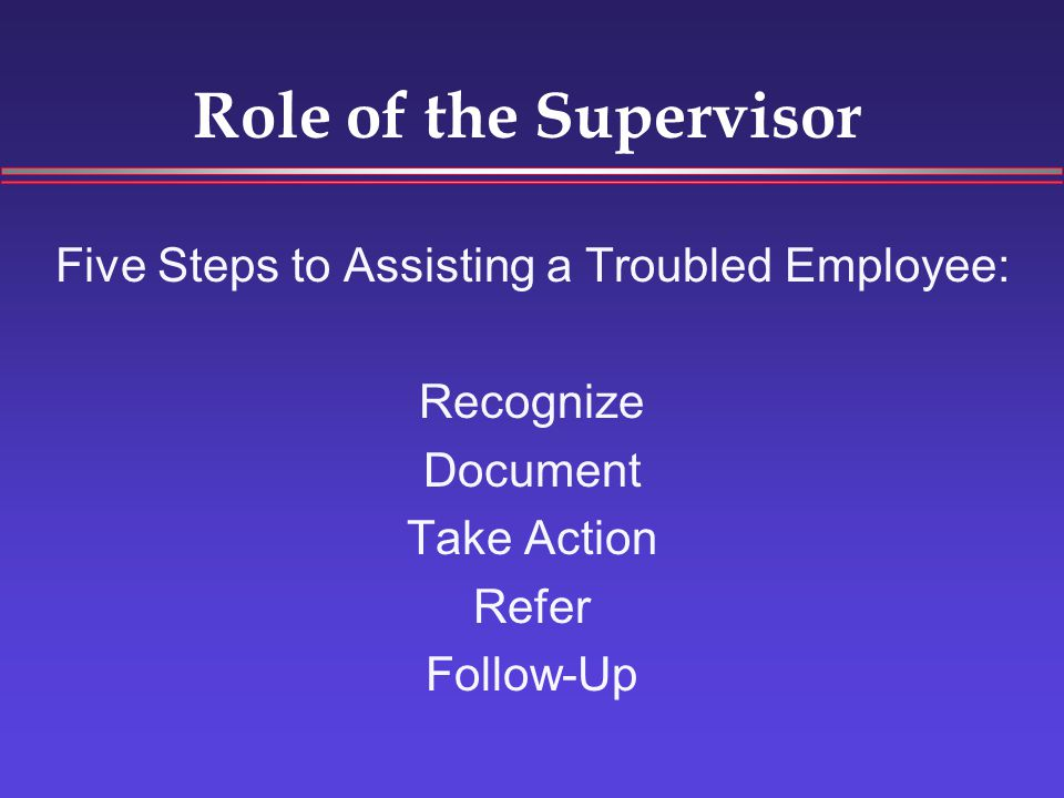 Role of the Supervisor Five Steps to Assisting a Troubled Employee: Recognize Document Take Action Refer Follow-Up