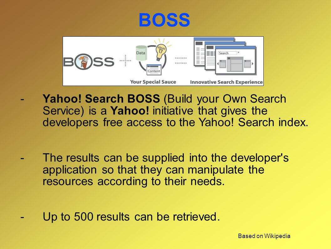 BOSS -Yahoo. Search BOSS (Build your Own Search Service) is a Yahoo.