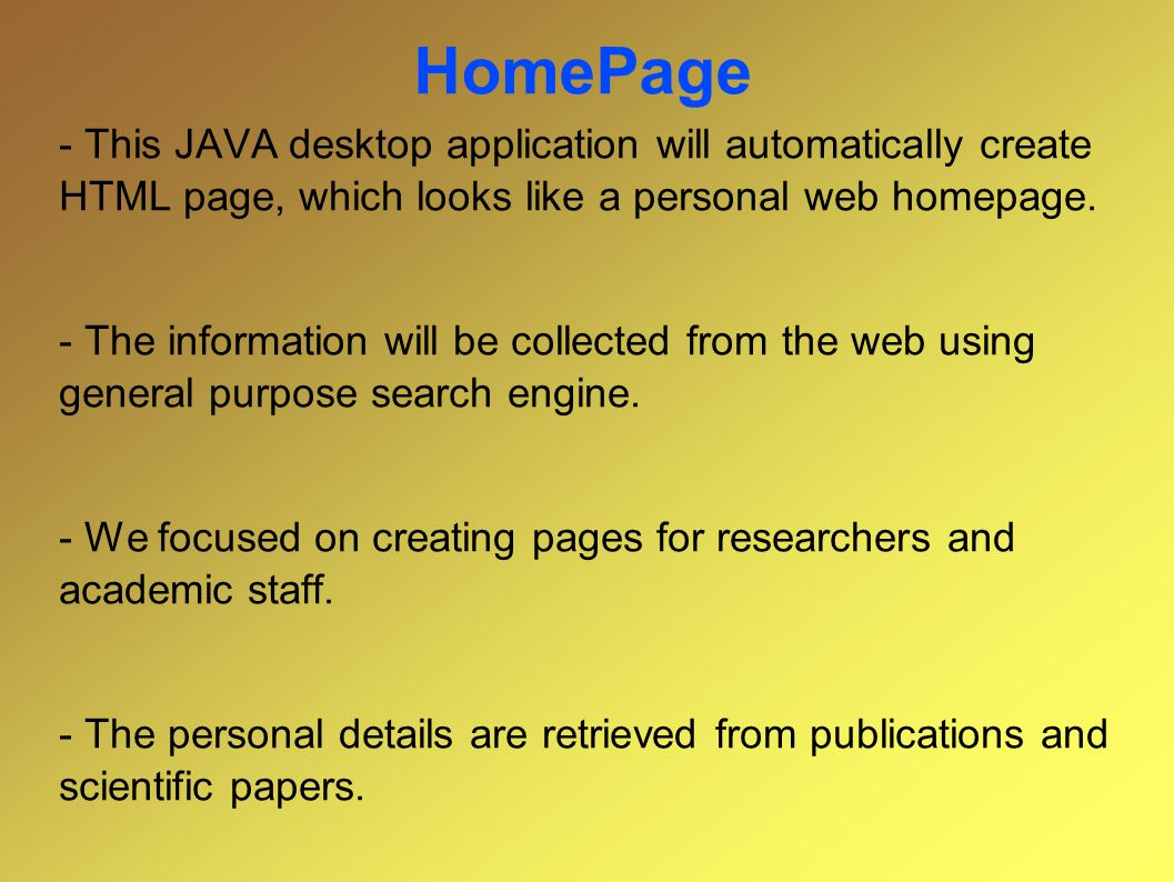 HomePage functionality - Gets from the user the search target name.