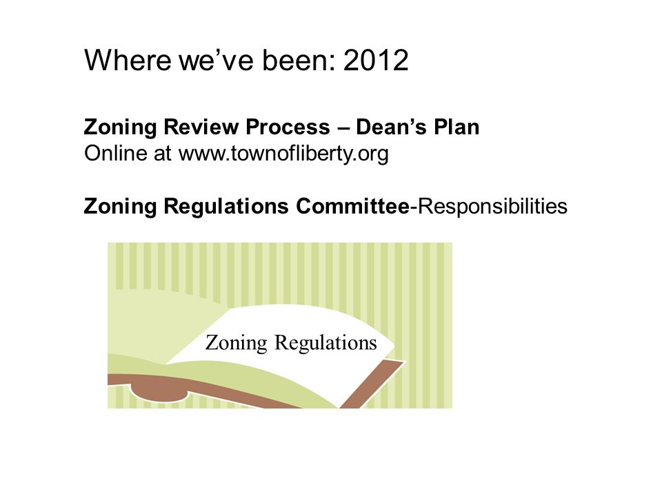 Where we've been: 2012 Zoning Review Process – Dean's Plan Online at www.townofliberty.org Zoning Regulations Committee-Responsibilities Zoning Regulations