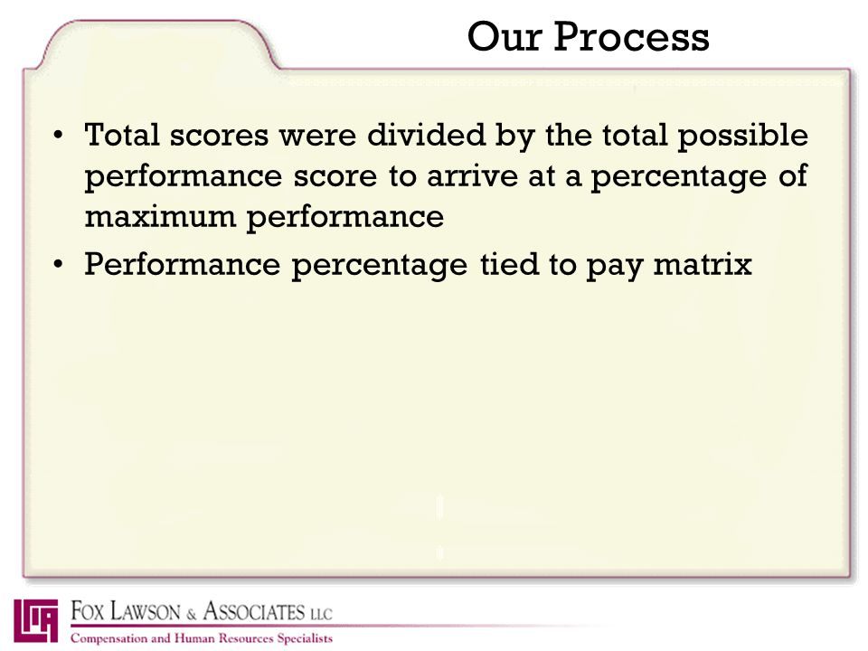 Our Process Total scores were divided by the total possible performance score to arrive at a percentage of maximum performance Performance percentage tied to pay matrix