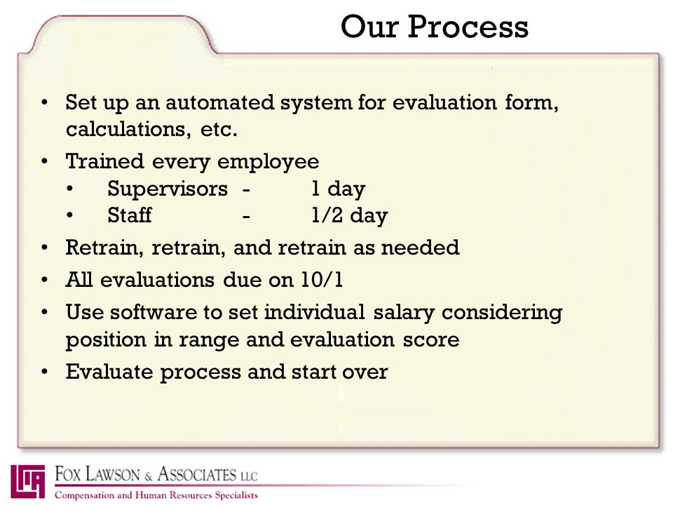 Our Process Set up an automated system for evaluation form, calculations, etc.
