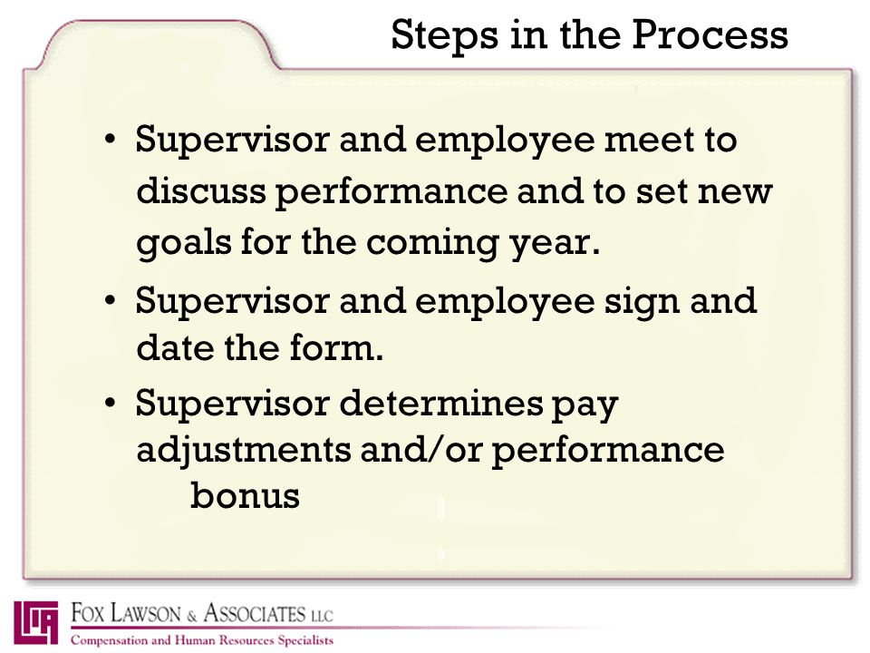 Steps in the Process Supervisor and employee meet to discuss performance and to set new goals for the coming year.