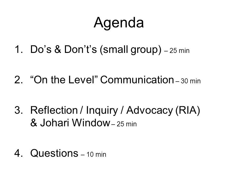 Agenda 1.Do's & Don't's (small group) – 25 min 2. On the Level Communication – 30 min 3.Reflection / Inquiry / Advocacy (RIA) & Johari Window – 25 min 4.Questions – 10 min
