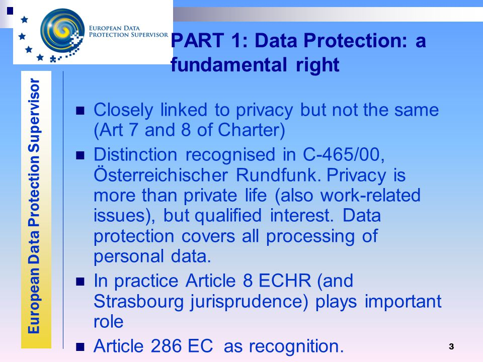 European Data Protection Supervisor 3 PART 1: Data Protection: a fundamental right Closely linked to privacy but not the same (Art 7 and 8 of Charter) Distinction recognised in C-465/00, Österreichischer Rundfunk.