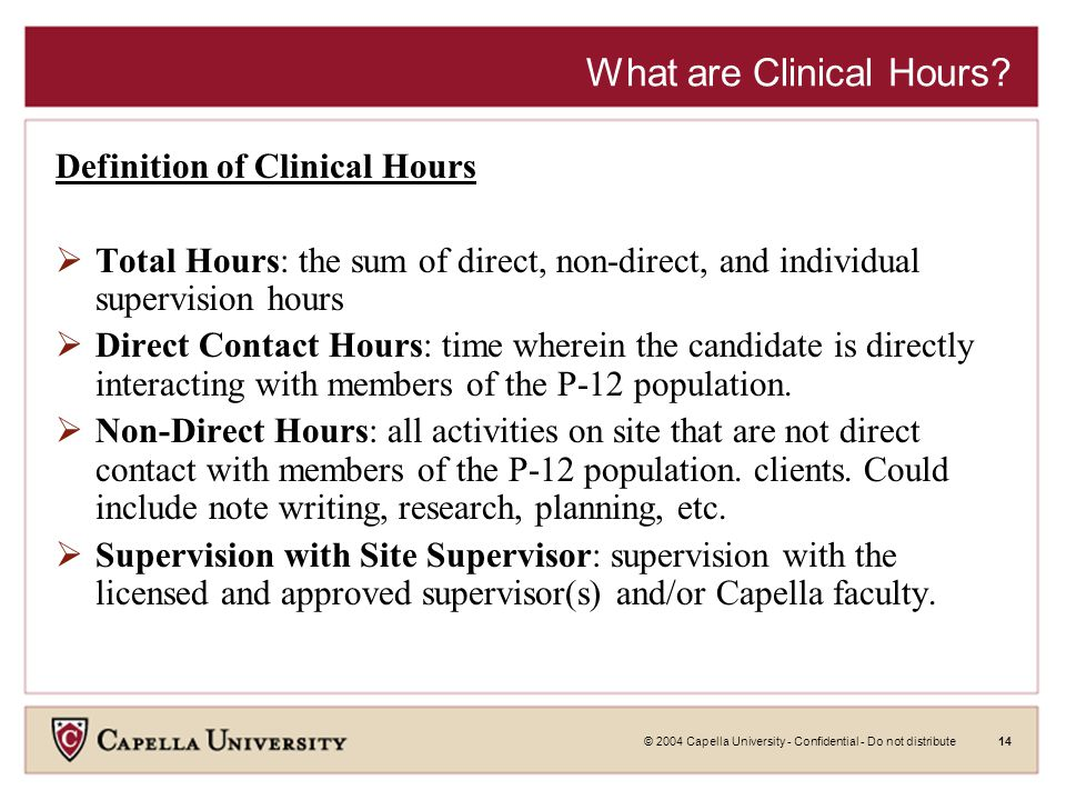 © 2004 Capella University - Confidential - Do not distribute14 What are Clinical Hours? Definition of Clinical Hours  Total Hours: the sum of direct,
