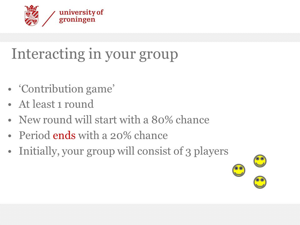 Group growth, splitting and elimination At the end of each period, average earnings of the groups are compared