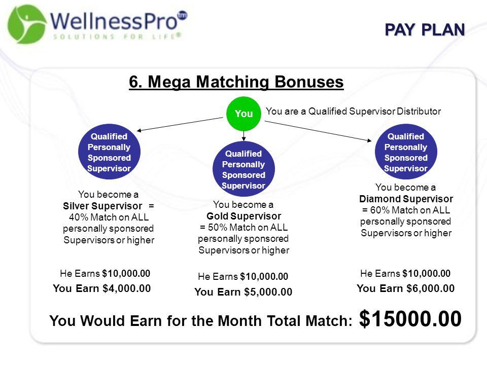 6. Mega Matching Bonuses Qualified Personally Sponsored Supervisor You You are a Qualified Supervisor Distributor PAY PLAN You become a Silver Supervi
