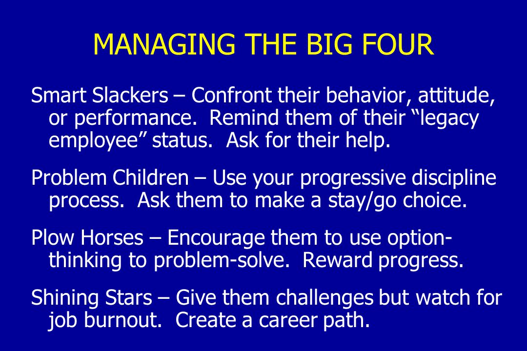 MANAGING THE BIG FOUR Smart Slackers – Confront their behavior, attitude, or performance.