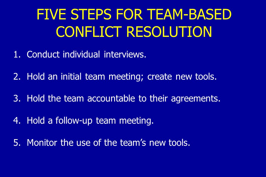 FIVE STEPS FOR TEAM-BASED CONFLICT RESOLUTION 1. Conduct individual interviews.