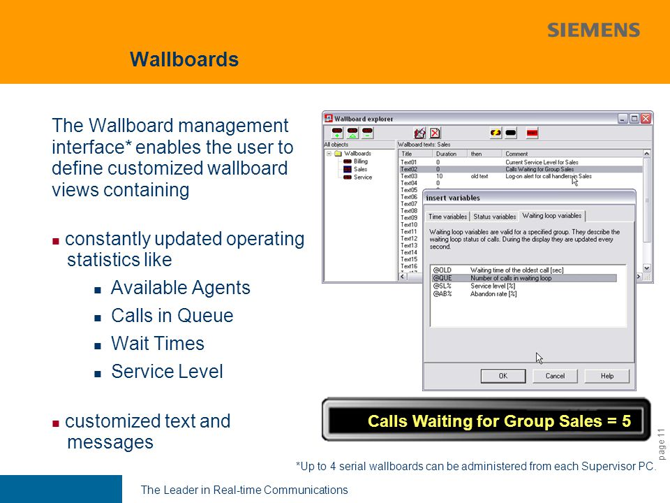 9,825,461,087,64 10,91 6,00 0,00 8,00 The Leader in Real-time Communications page 11 Wallboards The Wallboard management interface* enables the user to define customized wallboard views containing constantly updated operating statistics like Available Agents Calls in Queue Wait Times Service Level customized text and messages Calls Waiting for Group Sales = 5 *Up to 4 serial wallboards can be administered from each Supervisor PC.