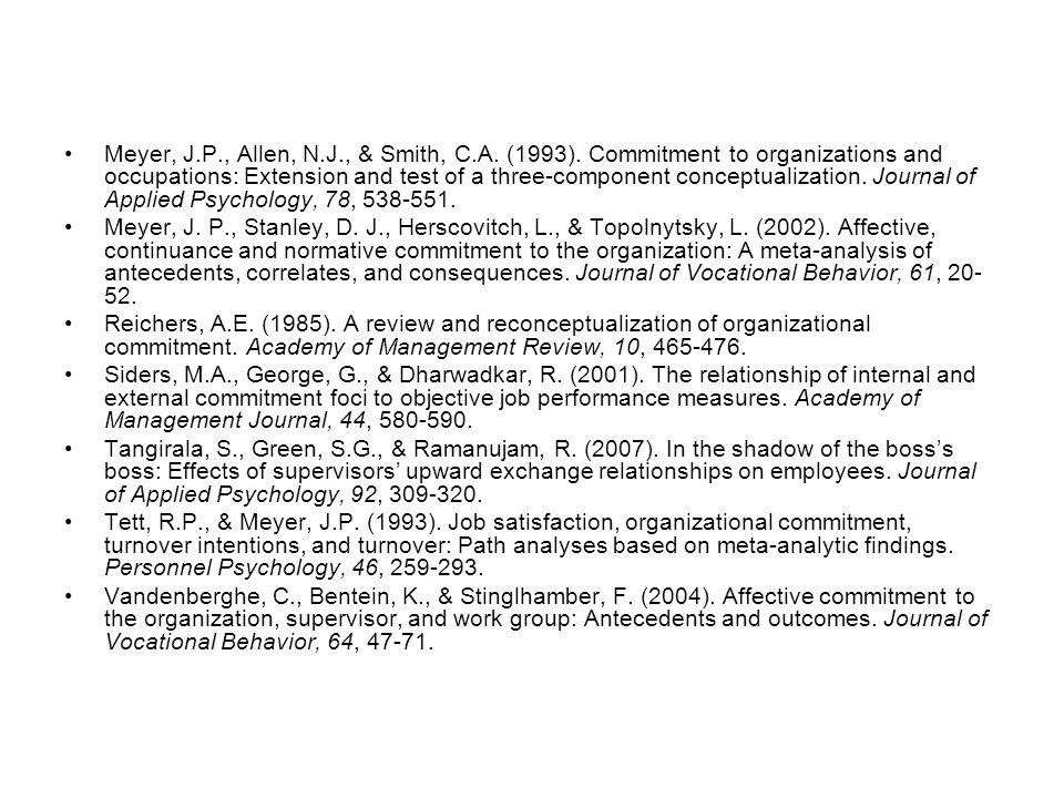 Meyer, J.P., Allen, N.J., & Smith, C.A. (1993).