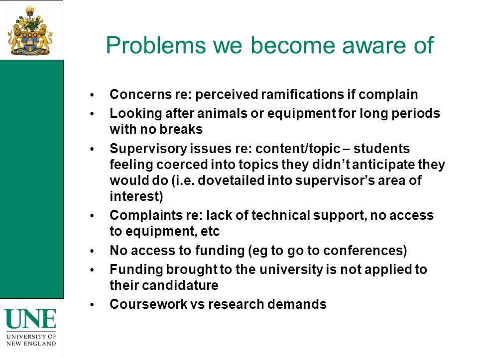 Problems we become aware of Concerns re: perceived ramifications if complain Looking after animals or equipment for long periods with no breaks Superv